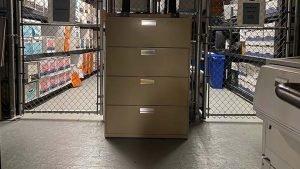 Beige filing cabinet