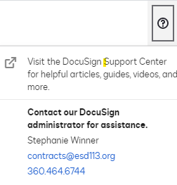 Docusign help menu